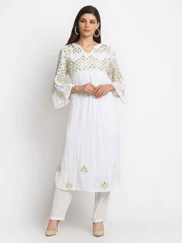 """100% ORGANIC VISCOSE   KURTI WITH 3D EMBROIDERED MIRROR EFFECT AND PANT """""""