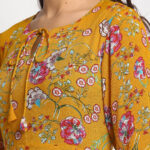 MUSTARD YELLOW FLORAL PRINTED 100 % PURE ORGANIC RAYON CREPE MAXI DRESS