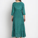 GREEN EMBROIDERED 100% PURE ORGANIC SILK SATIN FLARED MAXI DRESS