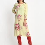 YELLOW 100% PURE ORGANIC FLORAL PRINTED  VISCOSE KURTA