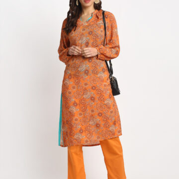 ORANGE FLORAL PRINTED 100% PURE NATURAL  SILK BLEND KURTA
