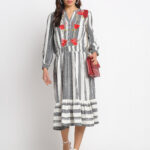 BLUE STRIPED EMBROIDERED 100% PURE ORGANIC  COTTON DRESS
