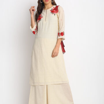 """ OFF WHITE FLOWER EMBROIDERED 100% ORGANIC COTTON KURTA PALAZZO SET """