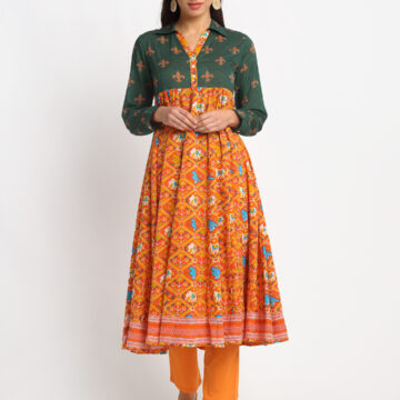 GREEN AND ORANGE PATOLA PRINTED 100% ORGANIC COTTON KURTA SET