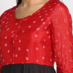 RED AND BLACK HAND WORK 100% NATURAL SILK BANDHEJ AND VINTAGE WORK