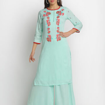 """ MINT FLOWER EMBROIDERED 100% ORGANIC VISCOSE KURTA PALAZZO SET """