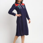 BLUE EMBROIDERED 100% PURE ORGANIC CREPE RAYON  DRESS