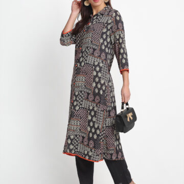 """BLACK  DIGITAL PERSIAN ANTIQUE PRINTED 100% PURE ORGANIC VISCOSE  KURTA   """
