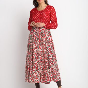 RED  SILK BANDHANI AND PRINTED  100% PURE ORGANIC SILK BLEND KURTA