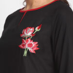 BLACK  EMBROIDERED 100% PURE  ORGANIC VISCOSE  RAYON  KURTA