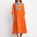 ORANGE  EMBROIDERED 100% PURE ORGANIC SILK SATIN FLARED MAXI DRESS
