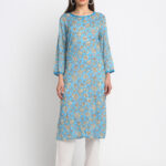 BLUE 100% NATUARAL  DIGITAL  FLORAL PRINTED SILK BLEND KURTA