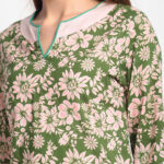 GREEN FLORAL  100% ORGANIC  DIGITAL PRINTED PURE COTTON   KURTA