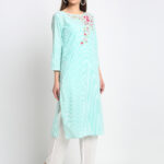 MINT GREEN EMBROIDERED 100% ORGANIC COTTON SELF STRIPED EMBROIDERED KURTA