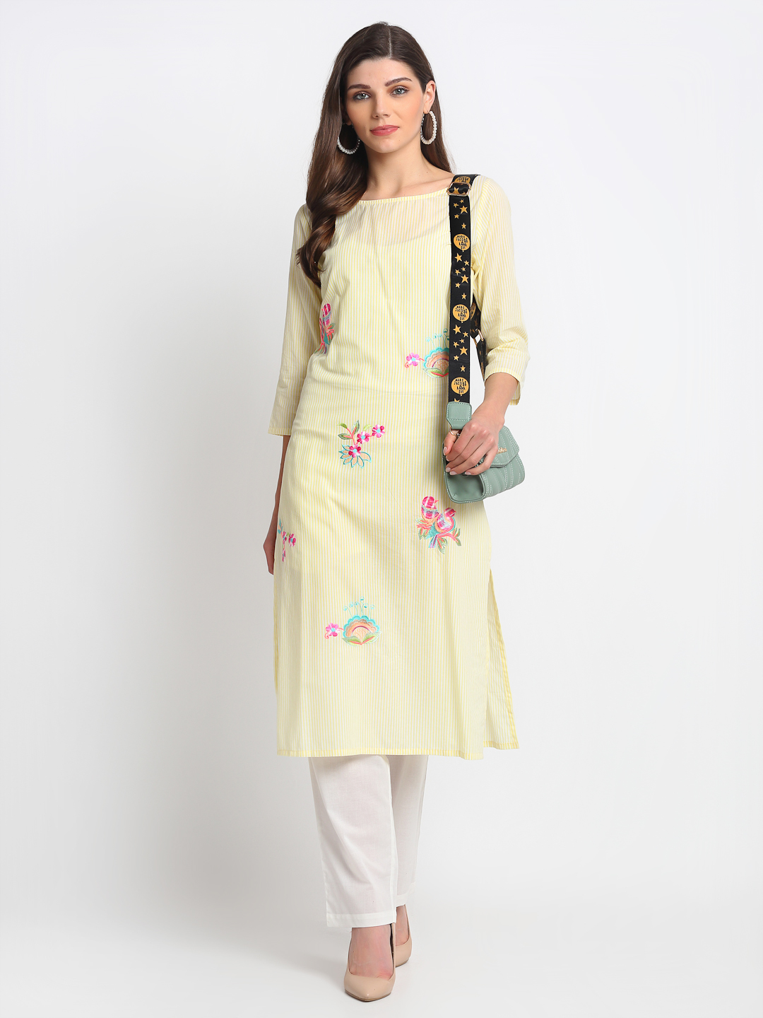 YELLOW EMBROIDERED 100% ORGANIC COTTON SELF STRIPED EMBROIDERED KURTA
