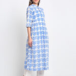 """ BLUE 100% PURE ORGANIC COTTON BLOCK PRINTED , MANDARIN COLLAR KURTA WITH  PEACOCK PRINT   """