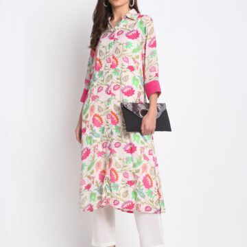 """WHITE AND PINK DIGITAL  FLORAL PRINTED 100%  NATURAL  SILK BLEND  KURTA   AND  PANT  SET    """