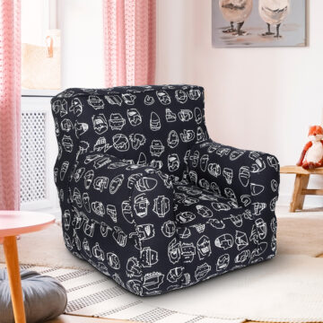 Black Printed Organic Cotton Comfu  kid  Sofa