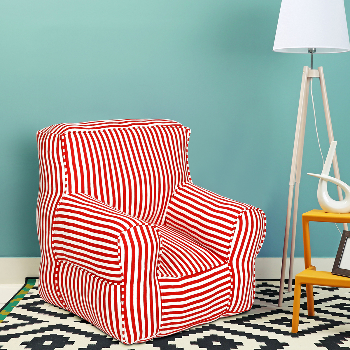 Red and White striped  Organic Cotton adult  Sofa