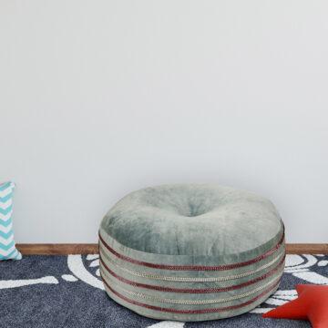 Grey 100 % organic cotton velvet beads embellished  pouf