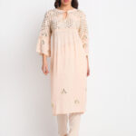 """PEACH 100% ORGANIC VISCOSE   KURTI WITH 3D EMBROIDERED MIRROR EFFECT AND PANT """