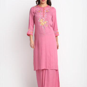 """ PINK FLOWER EMBROIDERED 100% ORGANIC VISCOSE KURTA PALAZZO SET """
