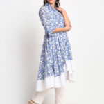 """BLUE FLORAL DIGITAL PRINTED 100% PURE ORGANIC COTTON ANARKALI """